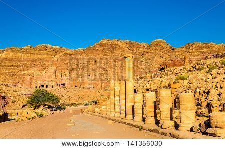 The Colonnaded street and the Royal Tombs at Petra - Jordan