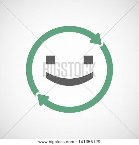 Isolated Reuse Icon With A Smile Text Face