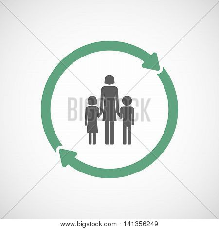 Isolated Reuse Icon With A Female Single Parent Family Pictogram