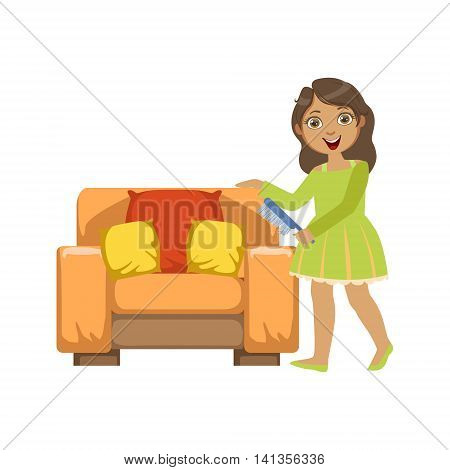 Girl Cleaning Dust Off Armchair WIth Brush Simple Design Illustration In Cute Fun Cartoon Style Isolated On White Background