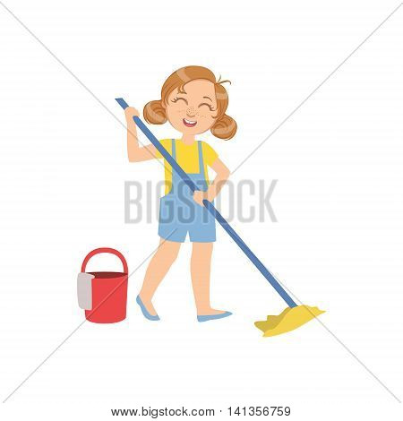 Girl Mopping The Floor With Bucket Simple Design Illustration In Cute Fun Cartoon Style Isolated On White Background