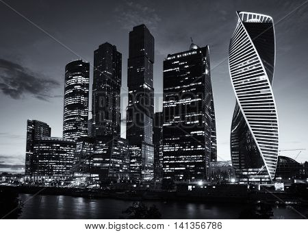 MOSCOW - August 04 2016: Moscow-city. Moscow International Business Center at night Russia