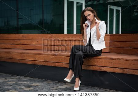 Young Beautiful Businesswoman Outdoors