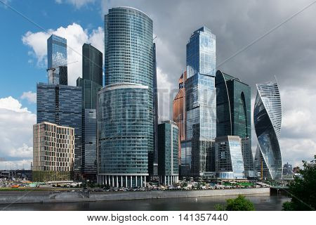 MOSCOW - August 04 2016: Moscow-city. Moscow International Business Center at day Russia