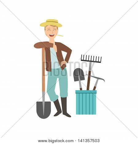 Guy Leaning On Spade With Bucket Of Other Farm Equipment Behind Simple Childish Flat Colorful Illustration On White Background