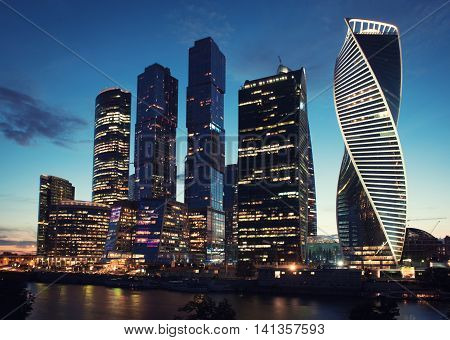 MOSCOW - August 04 2016: Moscow International Business Center Moscow-city. Skyscrapers at nighat. Russia