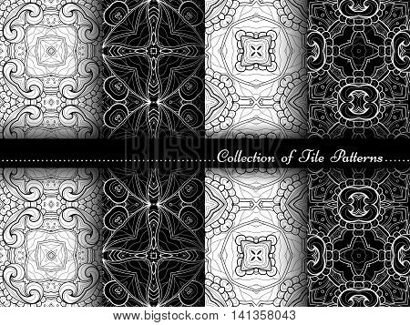 Vector Collection Of Black And White Seamless Vintage Patterns