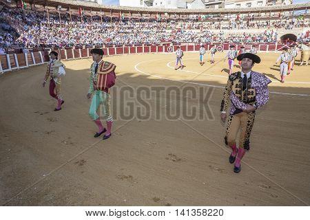 Ubeda SPAIN - September 29 2010: Spanish bullfighters at the paseillo or initial parade in bullring of Ubeda Spain