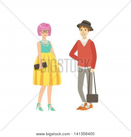 Girl With Pink Hair In Yellow Skirt And Guy With Trousers Simple Childish Flat Colorful Illustration On White Background