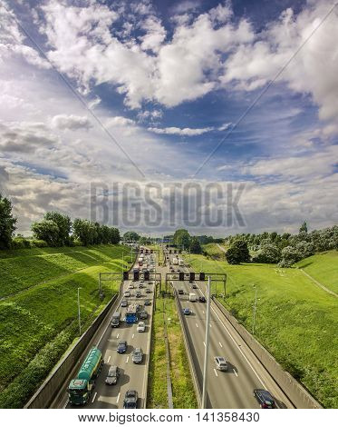 view of the highway with the Kennedy Tunnel. Antwerpen, Belgium. 04 august 2016