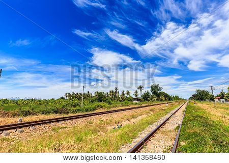 Railroad Track In Countryside Of Thailand