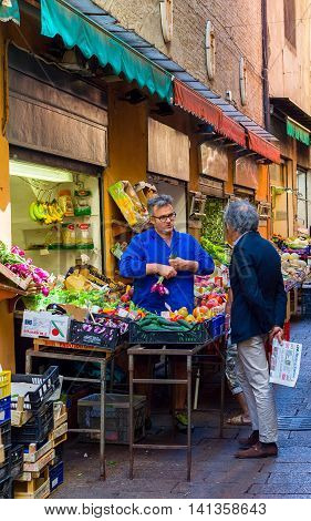 Greengrocer In The Quadrilatero, Market Zone Of Bologna. Emilia-romagna. Italy.