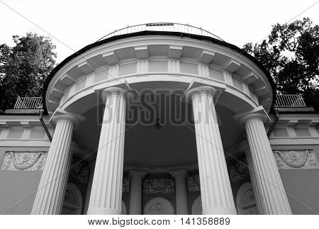 Columns of pavilion on Yelagin Island in St. Petersburg Russia. Black and white.