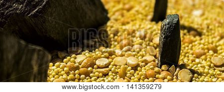Millet, peas, cereal, cereal with stone, millet background, cereal background, peas background, millet with peas, yellow cereal background, backdrop of cereals, cereal grains, millet pea background, closeup of grains of millet and peas, millet grains
