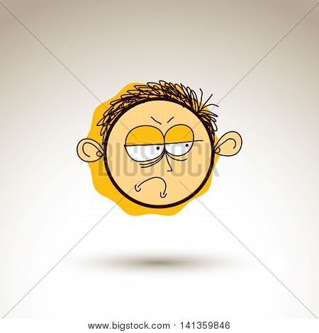 Vector hand drawn cartoon depressed boy. Web avatar theme graphic design element isolated on white.