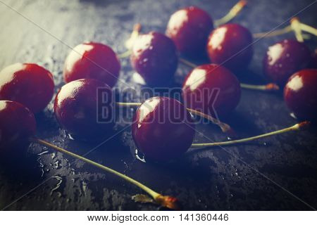 Few cherries on table, closeup