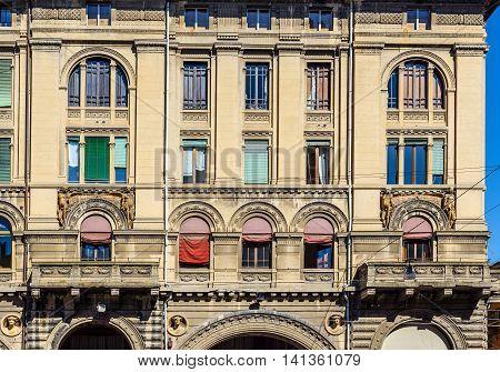 Typical Italian Facade In Bologna, Emilia-romagna. Italy.
