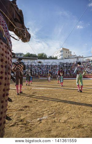 Andujar SPAIN - September 7 2014: Spanish bullfighters at the paseillo or initial parade in bullring of Andujar Spain