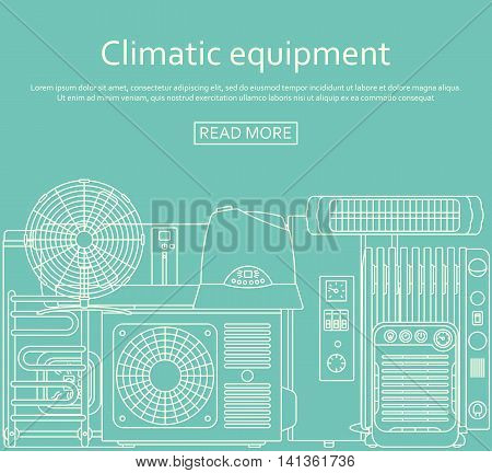 Climatic equipment concept made of outlined icons. Vector illustration.