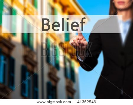Belief - Successful Businesswoman Making Use Of Innovative Technologies And Finger Pressing Button.
