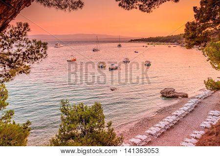 Famous Adriatic beach Golden Cape in sunset time, Island of Brac, Croatia.