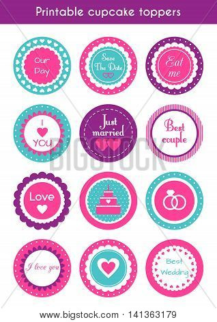 Vector set of round bright printable cupcake toppers, labels for wedding party