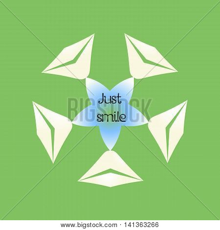 Simple flower with petals of lips of mouth and motivational phrase Just smile