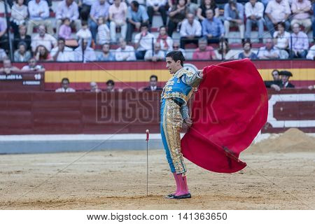 Jaen SPAIN - October 15 2011: The Spanish Bullfighter Jose Carlos Venegas bullfighting with the crutch in the Bullring of Jaen Spain