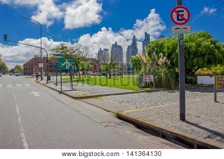 BUENOS AIRES, ARGENTINA - MAY 02, 2016: nice photo with the view of the financial distric in the capital of Argentina taked from puerto madero.