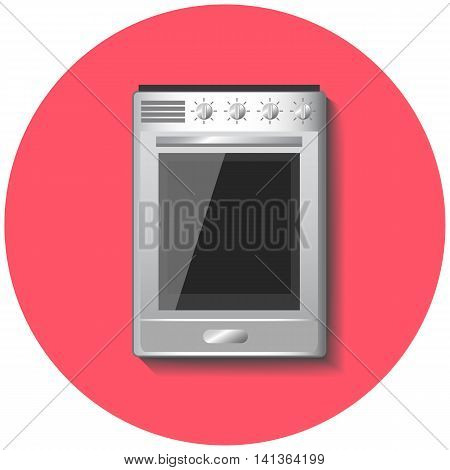 Metallic stove with oven in flat style vector illustration with circle red background. Four ring modern stove. Kitchen appliance for cooking. Comfortable house technology. Urban lifestyle.