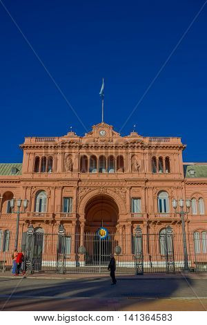 BUENOS AIRES, ARGENTINA - MAY 02, 2016: one of the most historical buildings in argentina, the pink house is the place where the president work at.