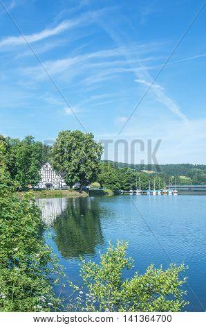 at Lister Reservoir in Sauerland near Olpe,North Rhine Westphalia,Germany