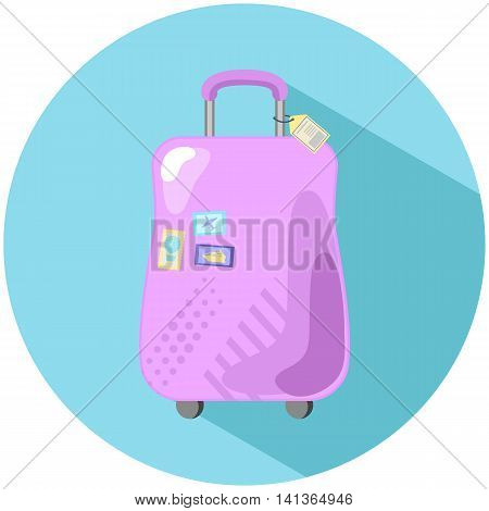 Pink suitcase with stamps vector illustration flat style pink baggage case with yellow tag and travel stamps flight trip icon hand luggage case flat style drawn image wheeled suitcase flat picture