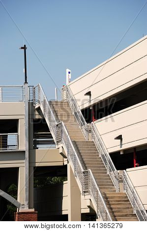 multi floors parking lot building and staircase