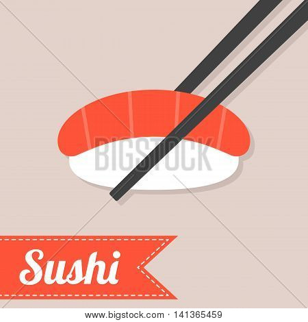 Vector sushi with chopstick, flat design with text