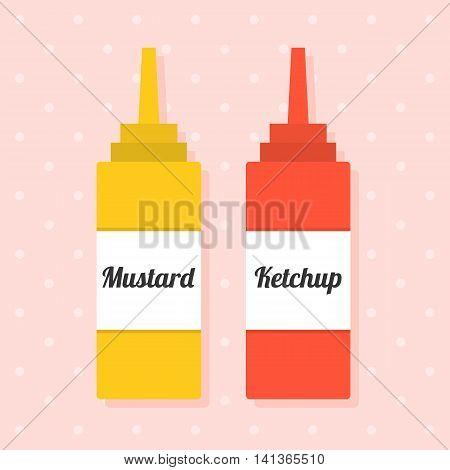 Vector ketchup, flat design on dot background