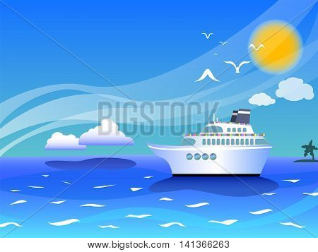 Sea landscape with cruise ship vector illustration for background with place for text summer holiday by the sea drawing sea landscape with white cruiseliner seagulls and clouds background template