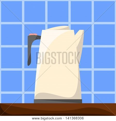 Flat style electric teapot on wooden table kitchen appliances vector illustration. Water boiler in simple interior - wooden table and blue tiles. Hot drinks cooking. Modern kitchen machine icon