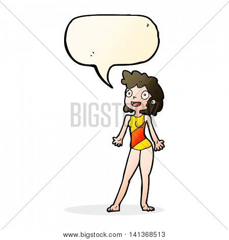 cartoon woman in swimming costume with speech bubble