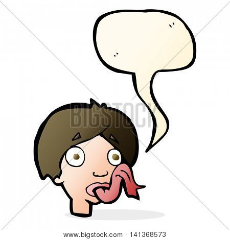 cartoon head sticking out tongue with speech bubble