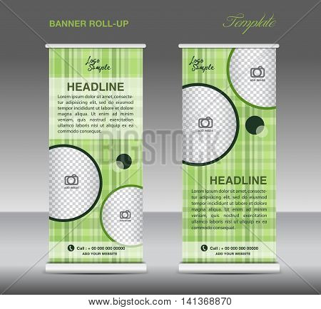 Green  Roll up banner template vector, roll up stand, display, banner design, flyer. advertisement, poster
