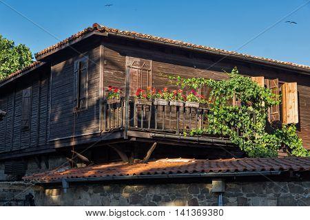 wooden Old house in Sozopol Town, Burgas Region, Bulgaria