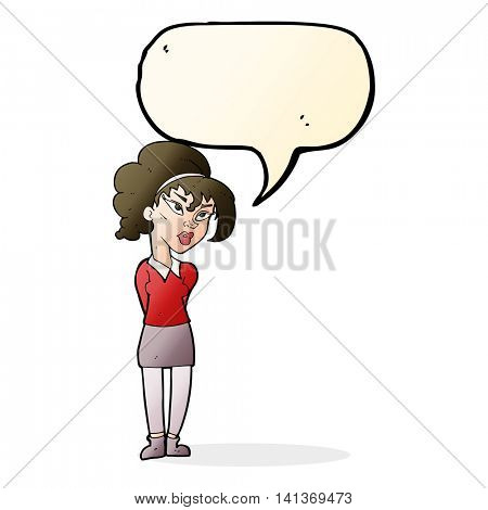 cartoon pretty girl tilting head with speech bubble