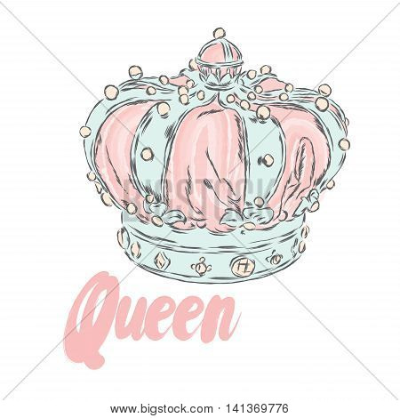 Crown. Vector illustration. Print for clothes, cards or posters.