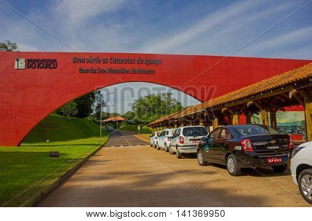 IGUAZU, BRAZIL - MAY 14, 2016: some taxis parked at the entrance of the national park of iguazu located in brazil.