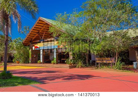 IGUAZU, ARGENTINA - MAY 14, 2016: entrance to the national park of iguazu from the argentinian side, also called yvyra reta that in the native language means land of trees.