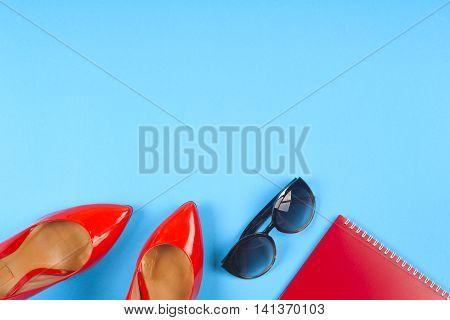 Women Accessories And Shoes On Light Background. Top View.
