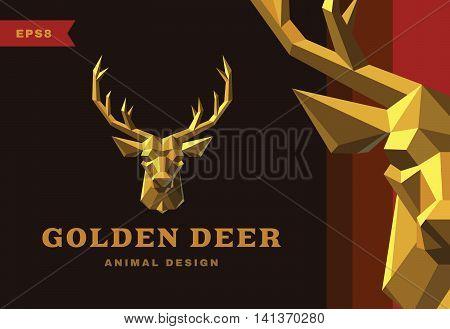 Vector logo. Golden Deer Polygon style icon