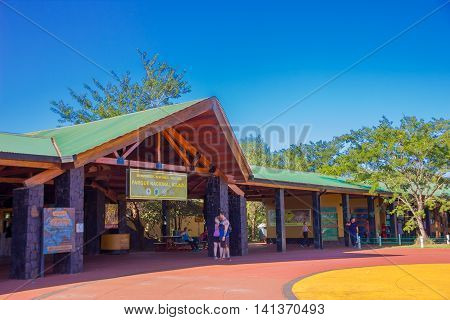 IGUAZU, ARGENTINA - MAY 14, 2016: entrance from the argentinian side to the national park where the waterfalls are.