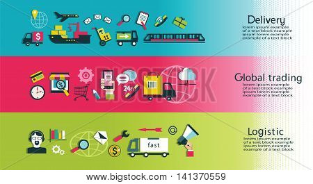 Delivery of goods services trade and logistics. Isolated objects.